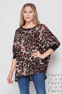 Honey Me Brown/Red Leopard Bat-Wing Style Top