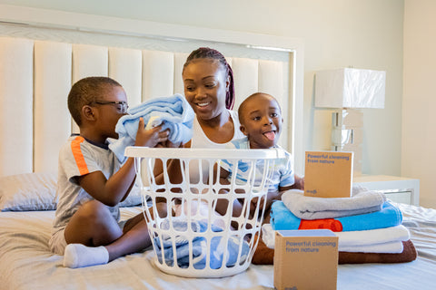 Family washing their laundry