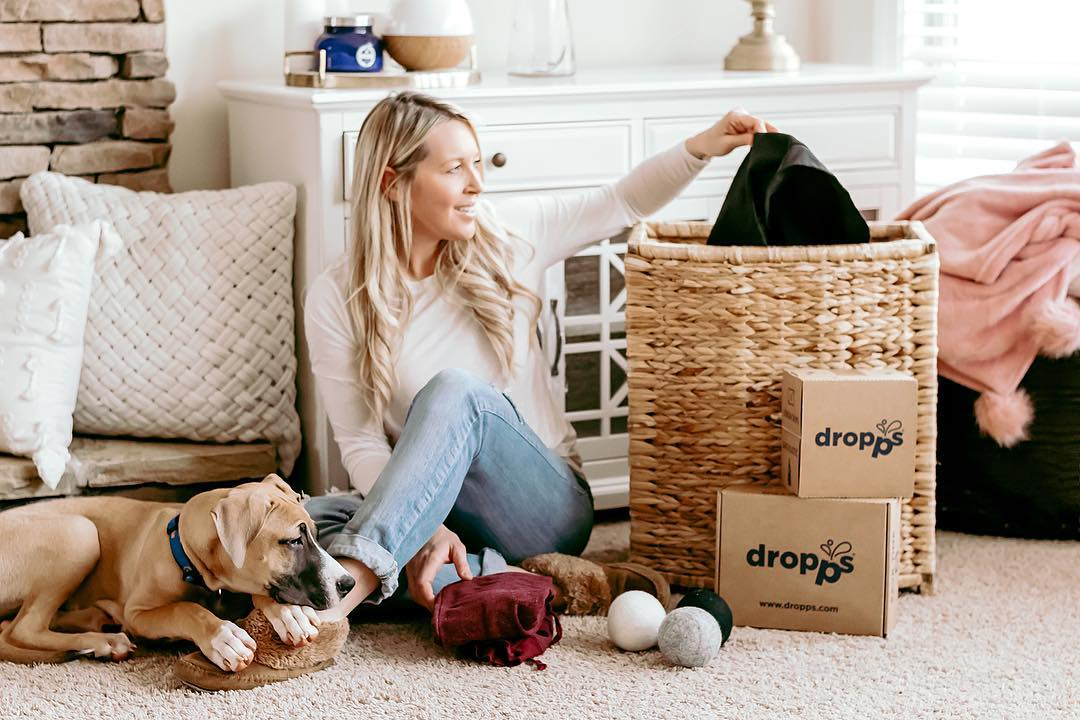 Woman and her dog with Dropps