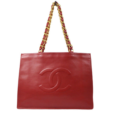 CHANEL XL Chain Shoulder Tote Bag Red