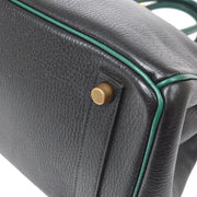 HERMES HAUT A COURROIES 32 Hand Bag Black Green Ardennes