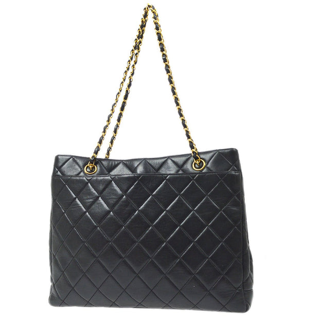 CHANEL Chain Shoulder Tote Bag Black