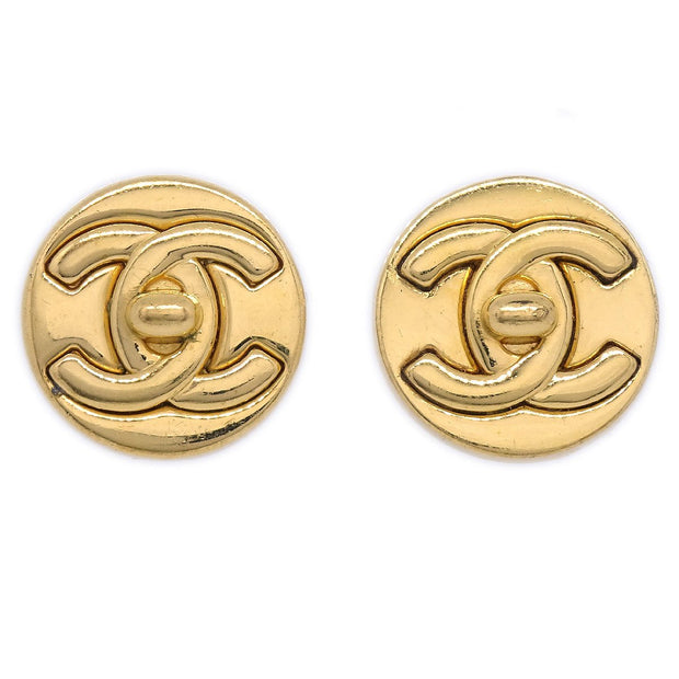 CHANEL Button Turnlock Earrings Gold Clip-On 97A