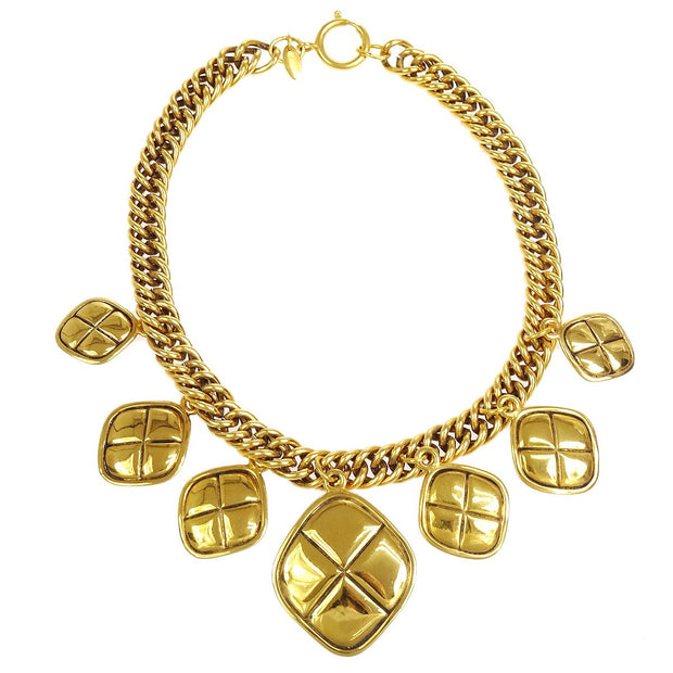 CHANEL Rhombus Charm Gold Chain Pendant Necklace