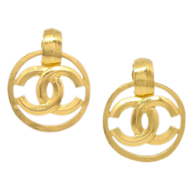 CHANEL Shaking Hoop Earrings Clip-On Gold 96P