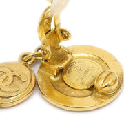 CHANEL Shaking Medallion Earrings Clip-On Gold