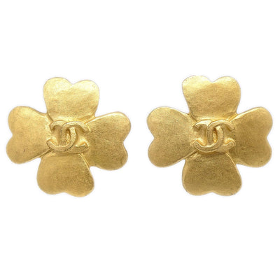 CHANEL Clover Earrings Gold 95P