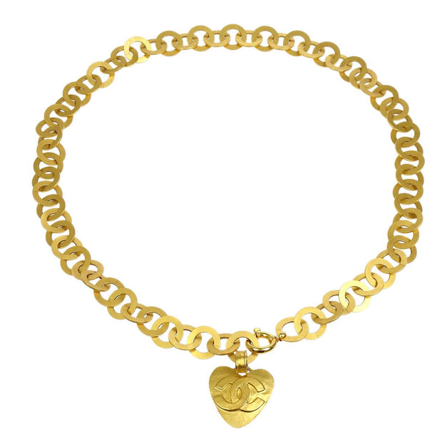 CHANEL Heart Charm Gold Chain Belt 95P Small Good