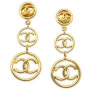 CHANEL Shaking Medallion Earrings Clip-On Gold 2926 93P
