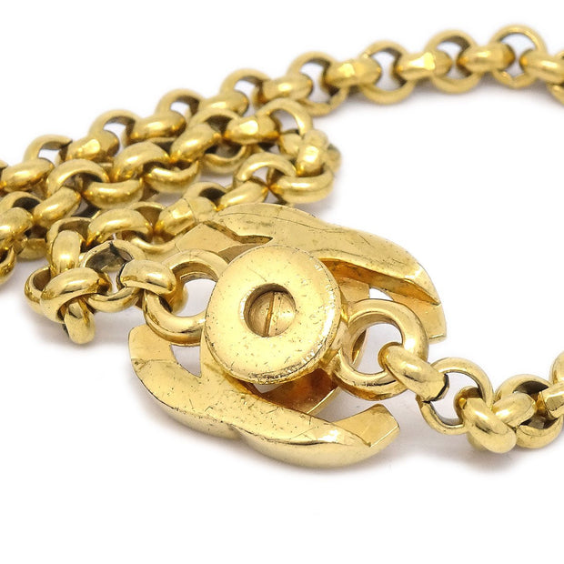 CHANEL Hoop Gold Chain Pendant Necklace 96P