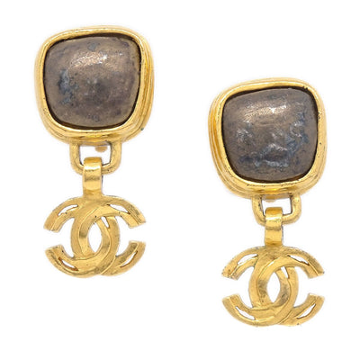 CHANEL Shaking Stone Earrings Clip-On Gold 97A