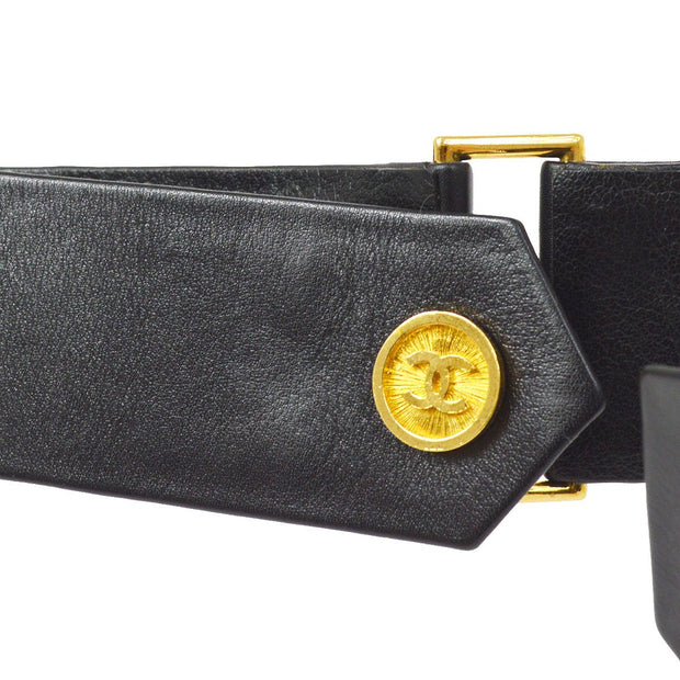 CHANEL Leather Belt Black Gold 75/30 29 Small Good