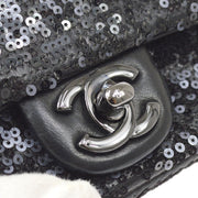 CHANEL Classic Flap Chain Shoulder Bag Black Spangle