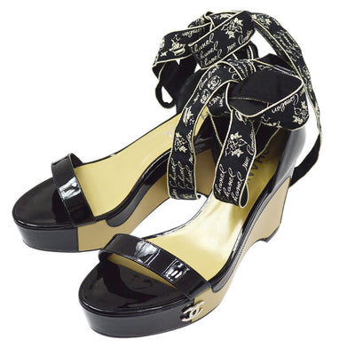 CHANEL Ankle Bow Shoes Sandals Black