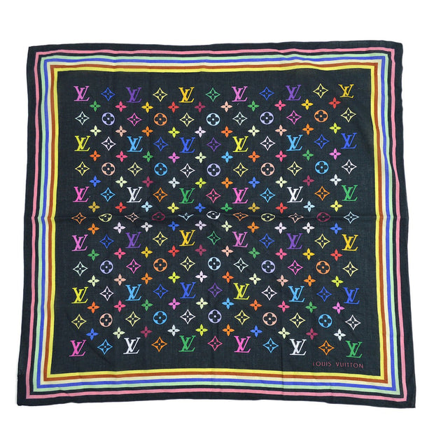 LOUIS VUITTON SCARF BANDANA MULTI COLOR BLACK M71912 Small Good