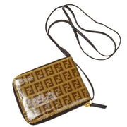 FENDI Zucchino Pattern Shoulder Wallet Brown