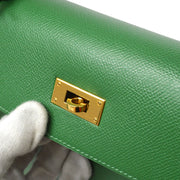 HERMES KELLY 28 SELLIER 2way Hand Shoulder Bag Green Courchevel
