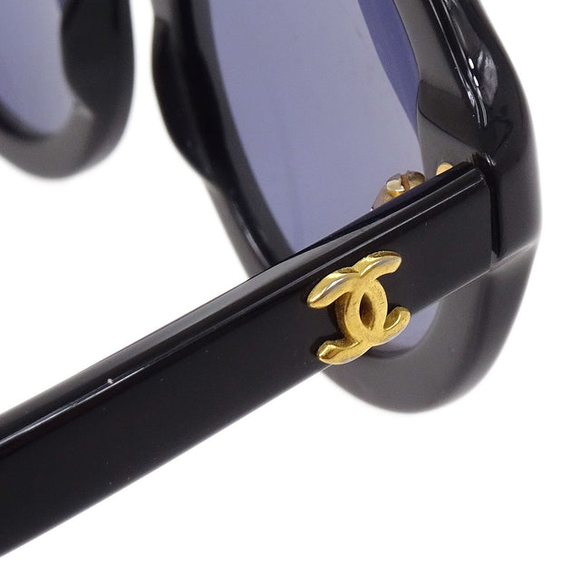 CHANEL Round Sunglasses Eye Wear Black Small Good