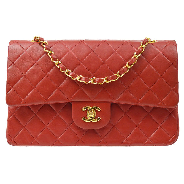CHANEL Classic Double Flap Medium Chain Shoulder Bag Red