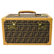 FENDI Zucca Pattern Makeup Cosmetic Hand Bag Box Brown