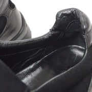 CHANEL Sneakers Shoes Black Leather #36 1/2