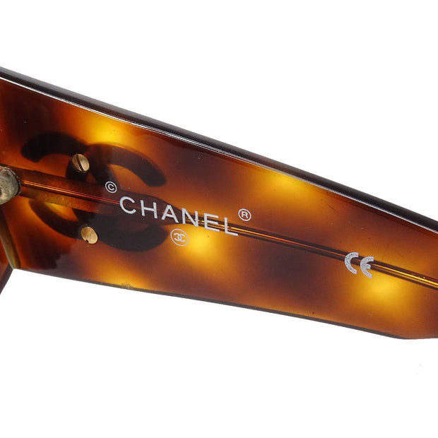 CHANEL Comb Sunglasses Eye Wear Brown Small Good