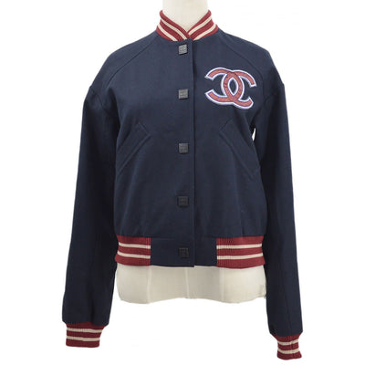 CHANEL Letterman Baseball Jacket Sports Line Dark Navy Red 04P #34