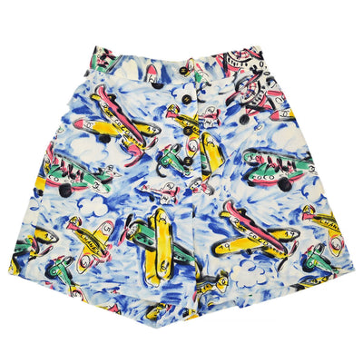 CHANEL 02762 #36 Aeroplanes Pattern Short Pants Blue