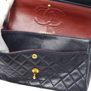 CHANEL Classic Double Flap Medium Chain Shoulder Bag Navy
