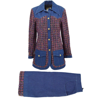 CHANEL 26 #40 Set Up Suit Jacket Skirt Tweed Denim