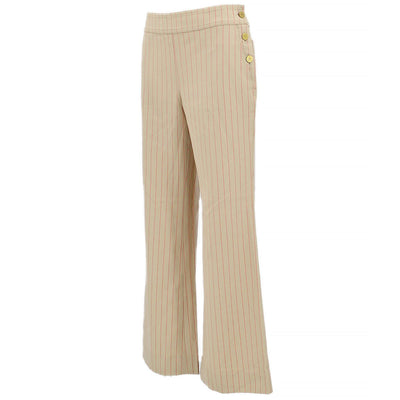 CHANEL 01S #36 Straight Pants Stripe Beige