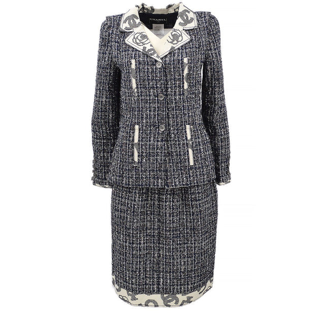 CHANEL 06P #34 Tweed Set Up Suit Jacket Skirt Navy