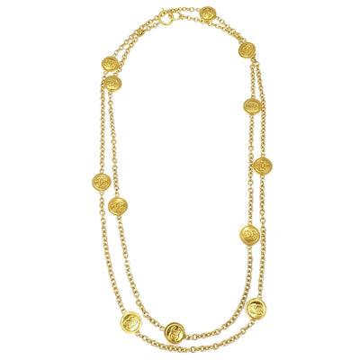 CHANEL Medallion Charm Gold Chain Pendant Necklace