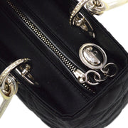 Christian Dior Lady Dior Cannage Rhinestone Hand Bag Black
