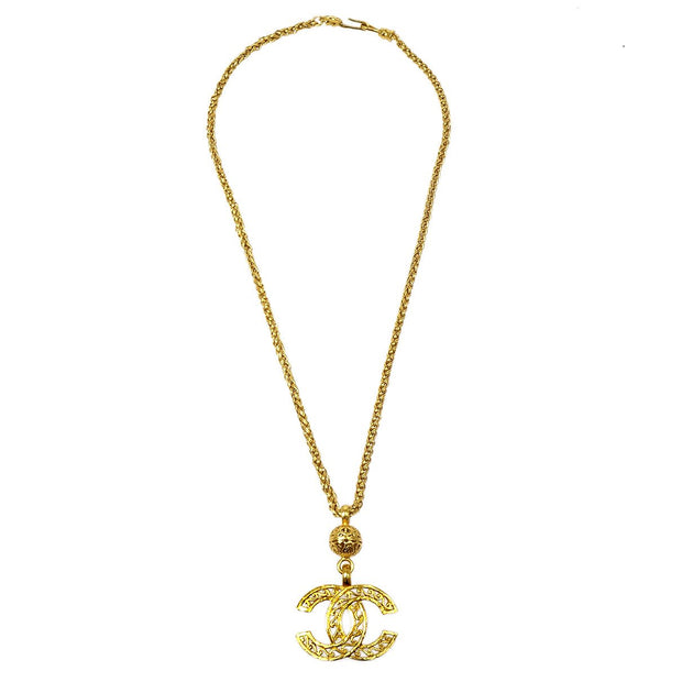 CHANEL Gold Chain Pendant Necklace 95A
