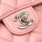 CHANEL Classic Double Flap Medium Shoulder Bag Pink Caviar Skin
