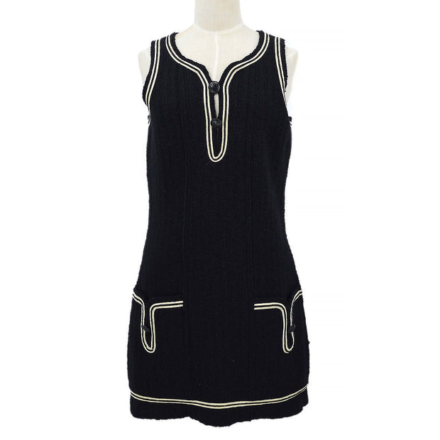 CHANEL 07A #36 Sports Line Sleeveless One Piece Dress Black