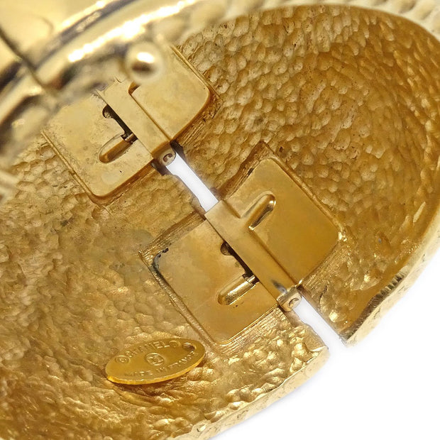 CHANEL Lion Quilted Bangle Gold-Tone