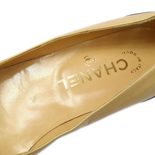 CHANEL Bi-Color Pumps Shoes Beige Black #35C