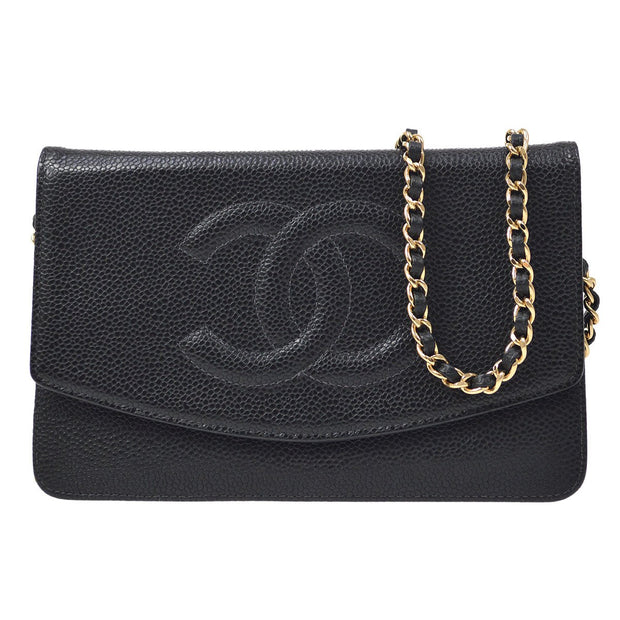 CHANEL Woc Chain Shoulder Wallet Bag Black Caviar Skin