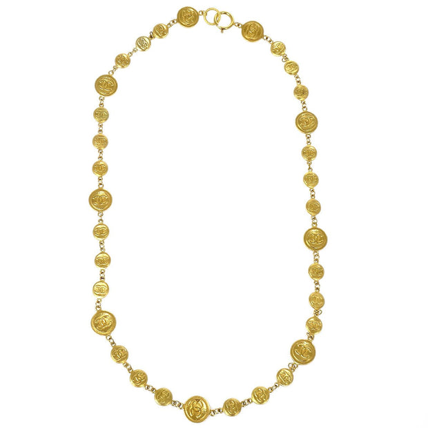 CHANEL Medallion Charm Gold Pendant Necklace