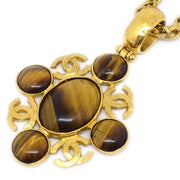 CHANEL Stone Gold Necklace 95A Gold Brown