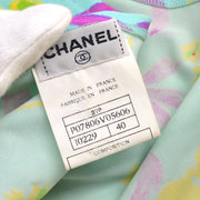 CHANEL 97P #40 Sleeveless One Piece Dress Light Blue