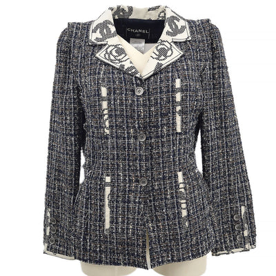 CHANEL 06P #36 Single Breasted Jacket Tweed Navy