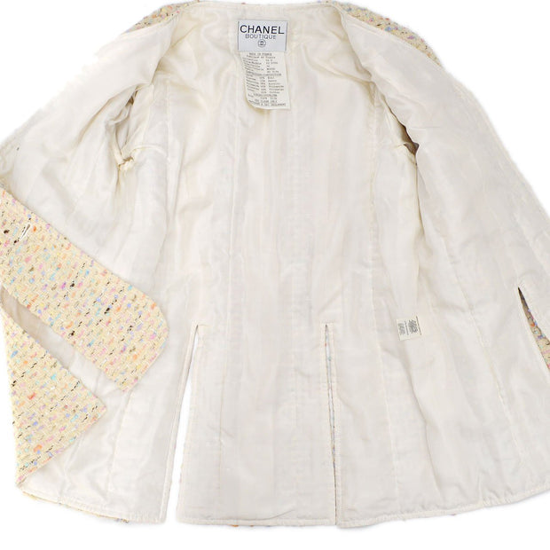 CHANEL 94P #36 Tweed Collarless Jacket Ivory