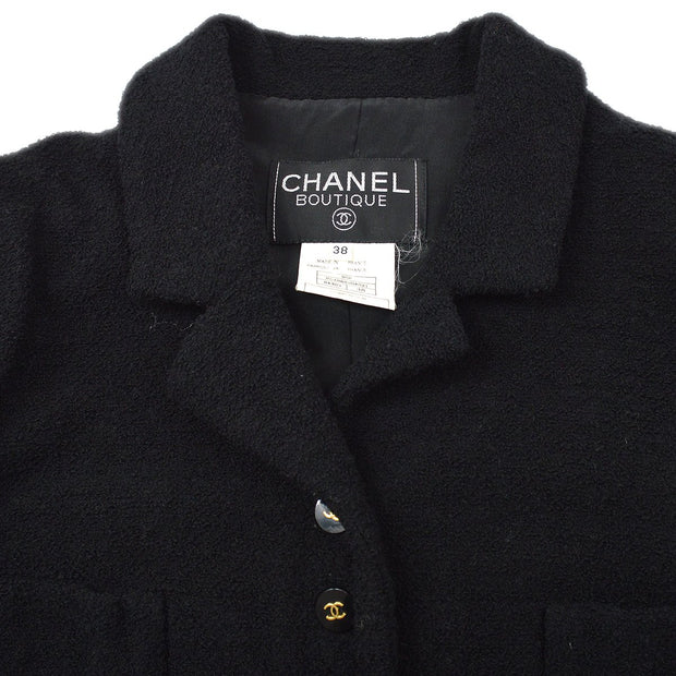 CHANEL 95P #38 Single Breasted Jacket Black