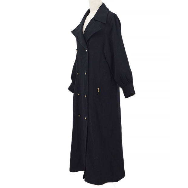 CHANEL 03826 #40 Double Breasted Long Coat Black