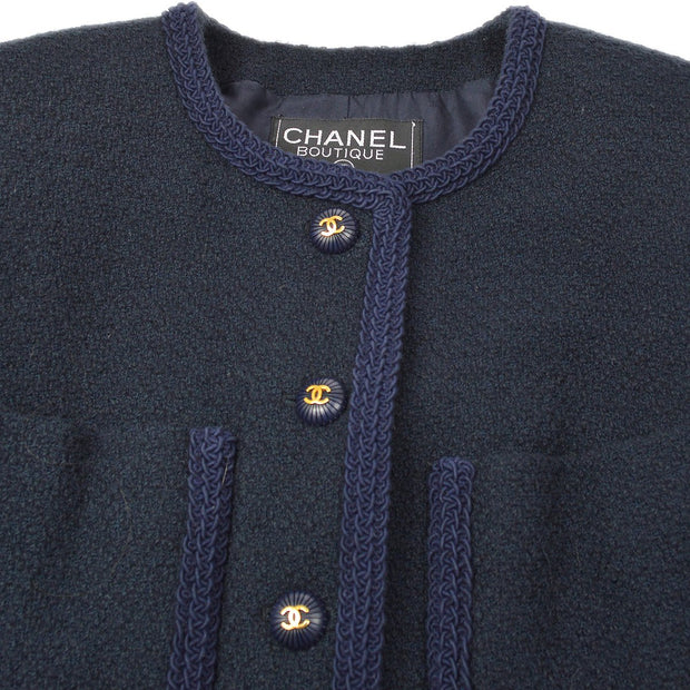 CHANEL 93C #34 Collarless Setup Suit Jacket Skirt Navy