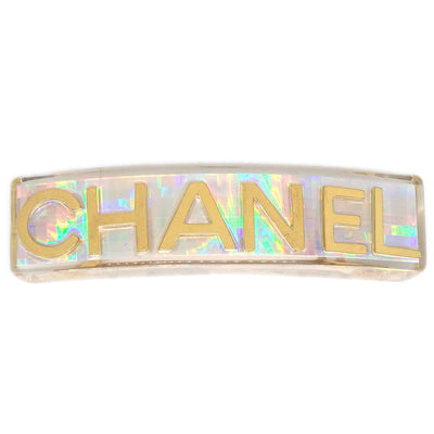 CHANEL Hair Clip Barrette Clear Plastic 97P