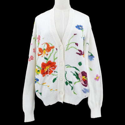 GUCCI Flower Pattern Cardigan Tops #40 White